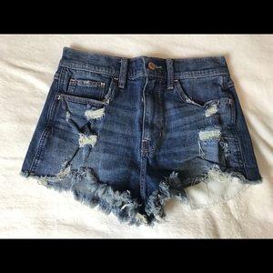 Hollow tee jean shorts